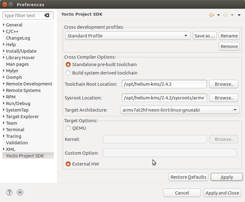 LinRT Eclipse IDE Setup for SDK